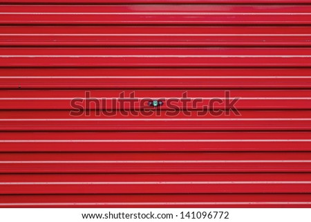 red   roller shutter - stock photo