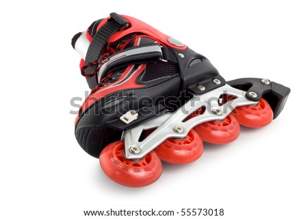 Red rollerscates isolated on a white background - stock photo