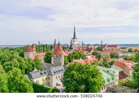 Red roofed medieval Old Town in the historic port of Tallinn, Estonia, a UNESCO World Heritage Site, situated on the southern coast of the Gulf of Finland