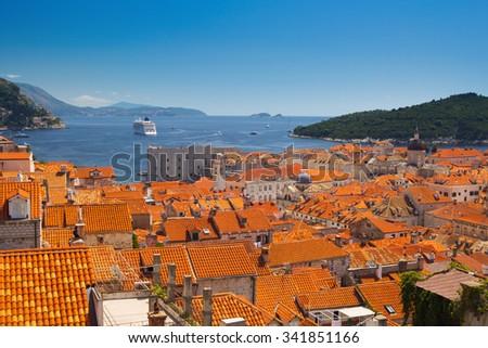 Red roofs and port of Dubrovnik from the old town walls, Croatia