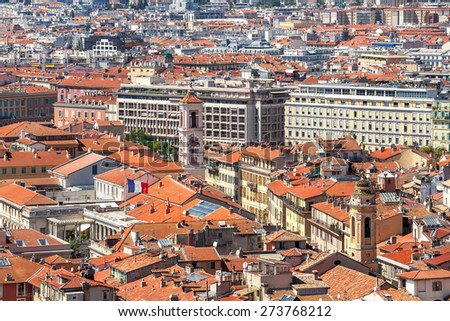 Red roofs and typical building of Nice, France (view from above). - stock photo