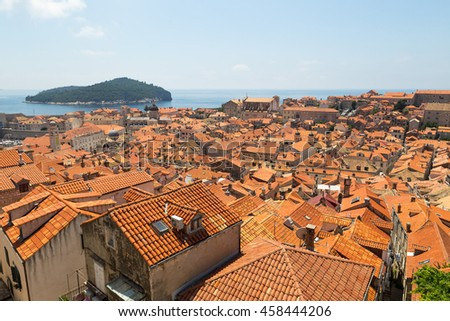 Red roofs of Dubrovnik, Croatia - stock photo