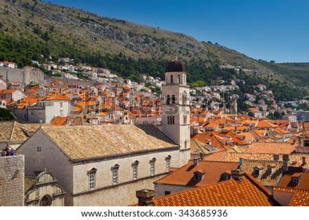 Red roofs of Dubrovnik from the old town walls, Croatia