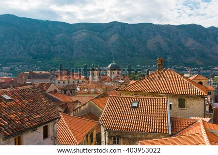 red roofs of old town Kotor, Montenegro - stock photo