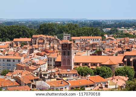 Red roofs of old town Perpignan,  France