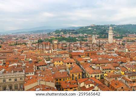 Red roofs of the city center. Verona, Italy - stock photo