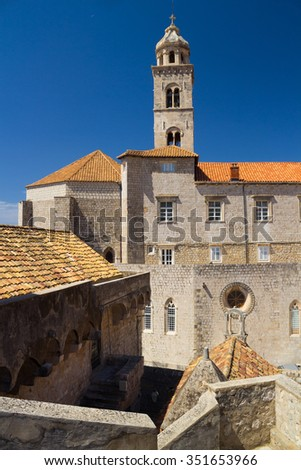 Red roofs with the bell tower, Dubrovnik, Croatia