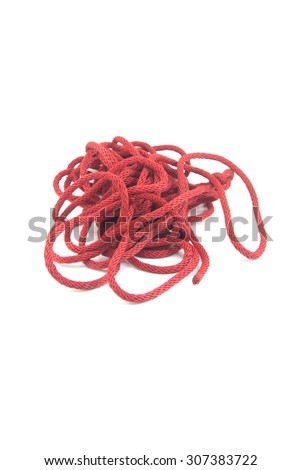 Red rope place a mess. - stock photo