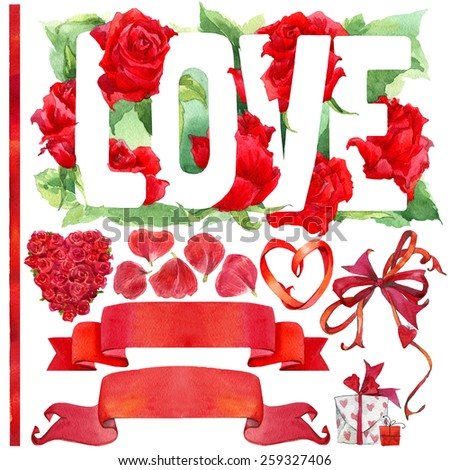 Red rose and decoration elements for Wedding, Valentine's day, Birthday card. watercolor illustration - stock photo