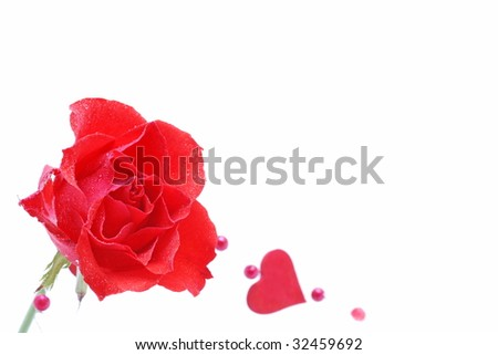 Red rose and heart, place for your text