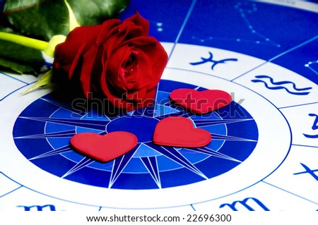 red rose and heart shapes on an astrological plan - stock photo