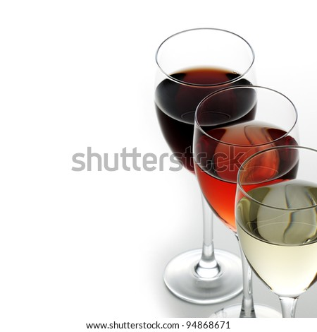 Red rose and white wine - stock photo