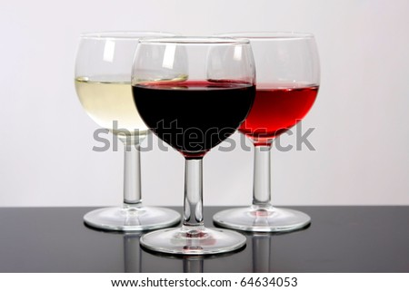 Red, rose and white wine, drink photo