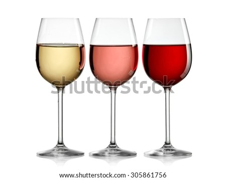 Red, rose and white wine glasses in line