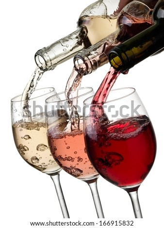 Red, rose and white wine pouring - stock photo