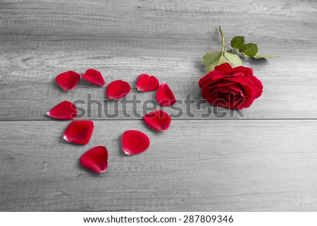 Red Rose Beside Petals Arranged in Heart Shape on Rustic Wooden Surface - Love and Romance Concept Image with Copy Space. - stock photo