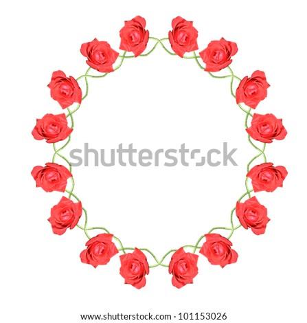 red rose circle - stock photo