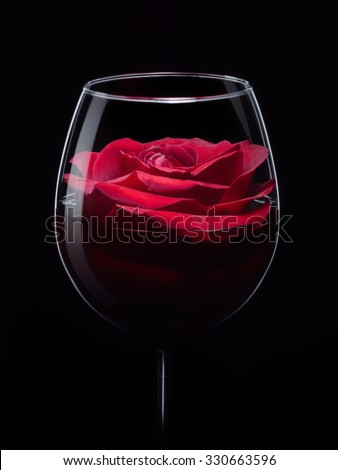 Red rose in wineglass with wine, close up isolated on black studio shot  - stock photo