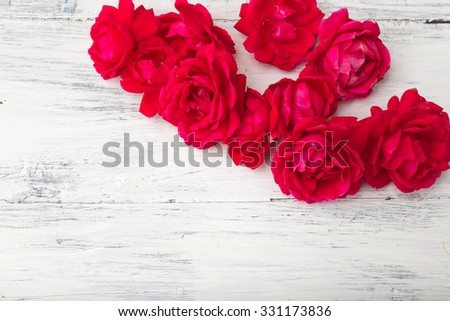 Red rose on white wooden background  - stock photo
