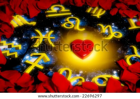red rose petals around an astrology background with a heart shape in the center - stock photo