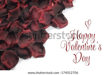 Red rose petals on white background with Happy Valentines Day greeting or copy space for your text here. - stock photo