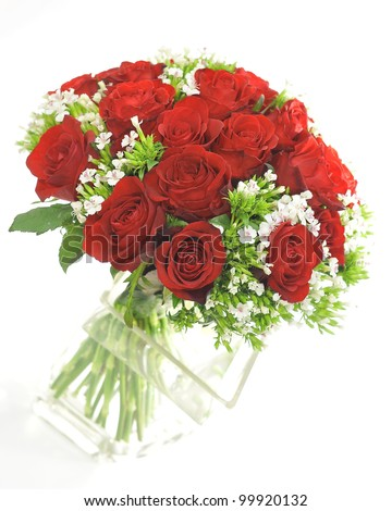 Red rose with small white flower bouquet isolated on white - stock photo