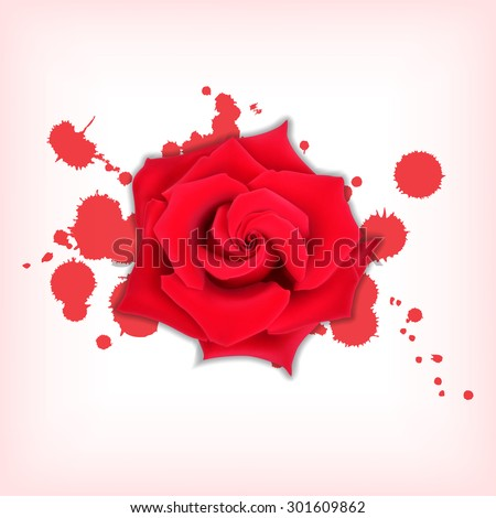 Red rose with splashes. Bloody splashes with a rose