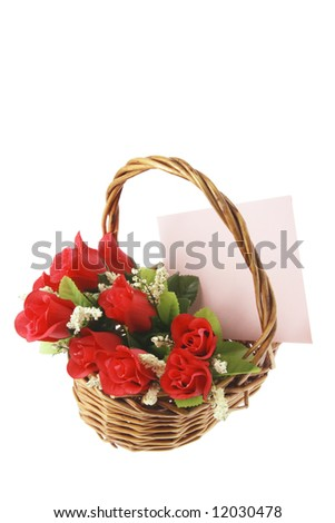 Red Roses and Greetings Card in Basket on White Background - stock photo