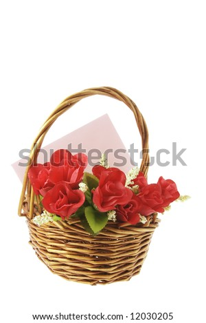 Red Roses and Greetings Card in Basket on White Basket - stock photo