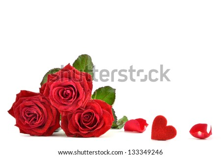 Red roses and heart - stock photo
