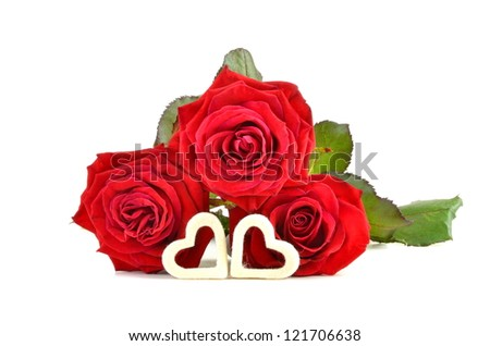 red roses and heart for Valentine's Day