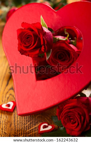 Red roses and heart for  Valentine's day - stock photo