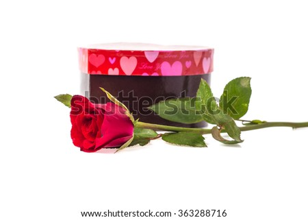 red roses and red box heart for Valentine's Day on white backgro