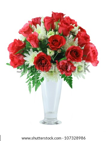 Red roses Arrangement isolated on white background - stock photo