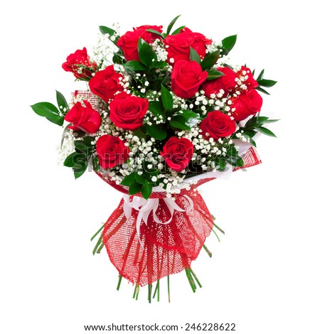 Red roses bouquet. Colorful and bright. Isolated on white background - stock photo