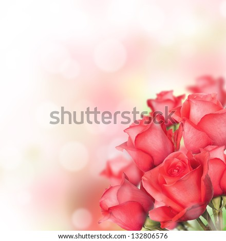Red roses bouquet with free space for text - stock photo
