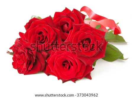 Red roses bunch with bow isolated on white background - stock photo