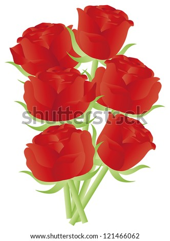 Red Roses Flower Bouquet for Valentines Day Anniversary or Special Occasion Illustration Isolated on White Background Raster Vector - stock photo