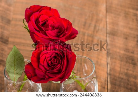 Red roses hugging in two wine glasses - stock photo