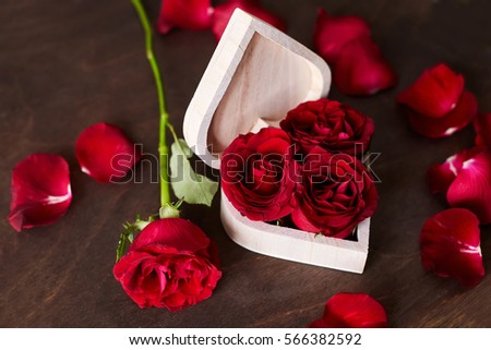 Red Roses In A Box The Shape Of Heart Valentine Day Love Beautiful