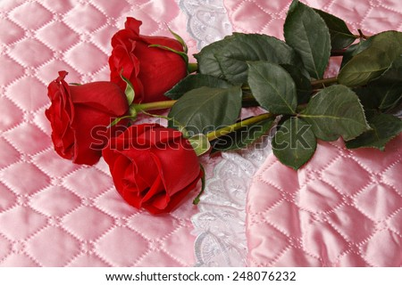 Red roses on pink satin. New born concept  - stock photo
