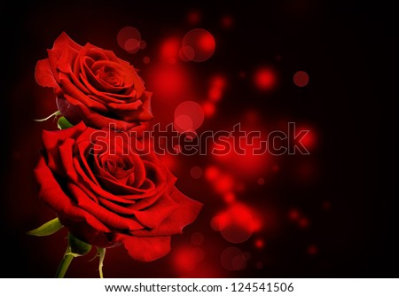 Red roses Valentine background - stock photo