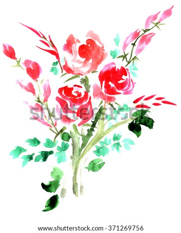 Red roses with green leaves painted paints on on the background on white paper,  watercolor - stock photo