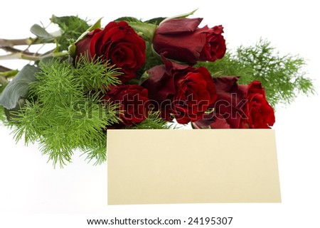 red roses with place card