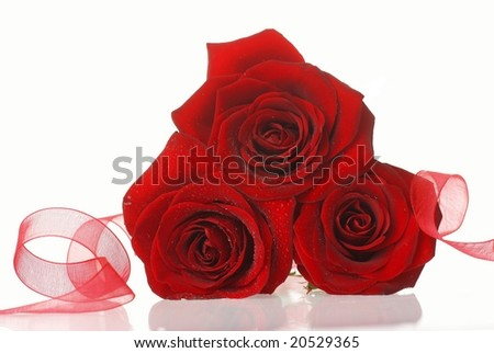 Red roses with ribbon