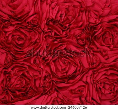 Red Rosette Rose Background fabric - stock photo