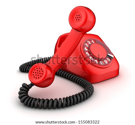 Red rotary telephone (done in 3d, isolated)  - stock photo