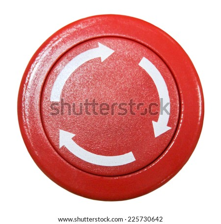 Red round button isolated on white background - stock photo