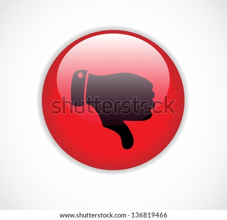 Red round dislike button with thumb down - stock photo