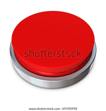 red round push button bordered by a metallic ring - design template - stock photo